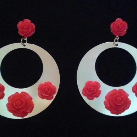 Pendientes Dorados rosas roja