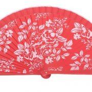 Abanico Impreso Rojo flores rosa