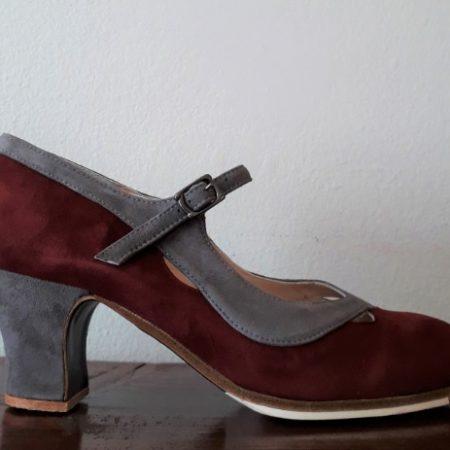 Zapato profesional de flamenco Salon Correa II 38 Burdeo-Gris lado