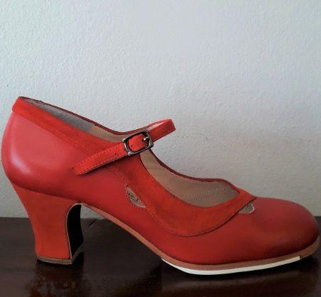 Zapato profesional de flamenco Salon Correa II rojo 38-5 lado