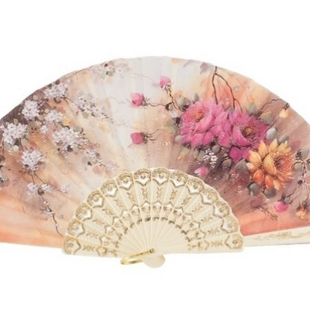 Abanico plastico marfil flores