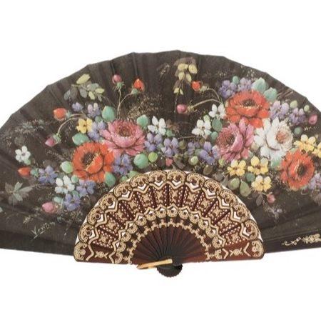 Abanico plastico negro flores
