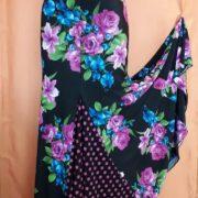 Falda 4 cortes estampada flores azul-purpura abierta