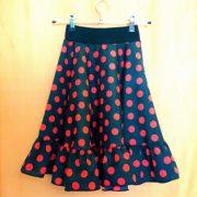 VI20K Falda flamenco niña 3a negro lunar rojo cerrada