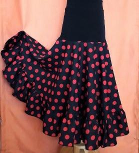 VI20G Falda flamenco niña Canesu negro lunar rojo abierta