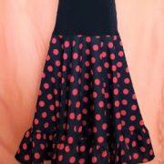 VI20G Falda flamenco niña  Canesu negro lunar rojo cerrada V2