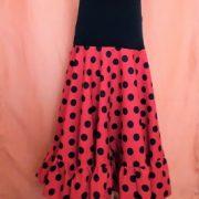 VI20G Falda flamenco niña Canesu rojo lunar negro cerrada
