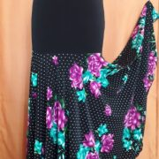 Falda de flamenco Plato flores menta-purpura abierta LIV
